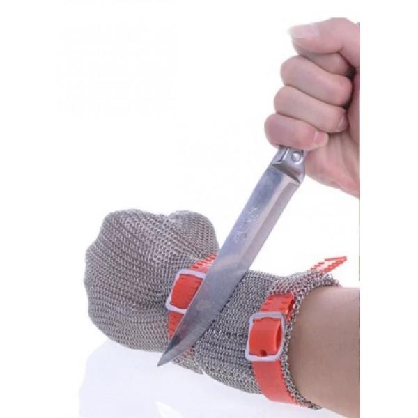 Gant de protection cote de maille 5 doigts à manchette