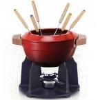 Service à fondue poignées bois